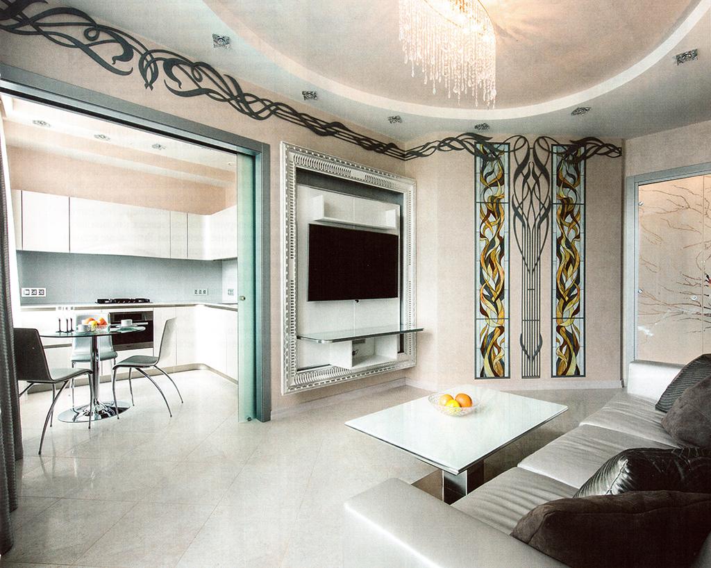 Гостиная-кухня-столовая. Площадь —25,0 м2. Панель для телевизора — Vismara Design (Италия). Кухня — Snaidero (Италия). Керамогранит — Peronda (Испания)