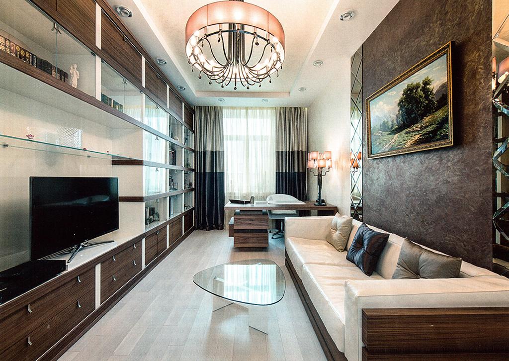 Кабинет. Площадь — 16,6 м2. Мебель — Galimberti Nino, Bimax (все — Италия). Массивная доска — Coswick (Канада — Беларусь).