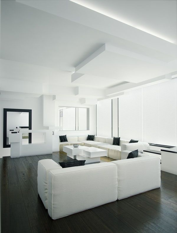white-and-black-living-room