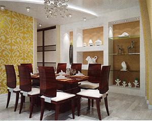интерьер гостиной с обоями песочного цвета