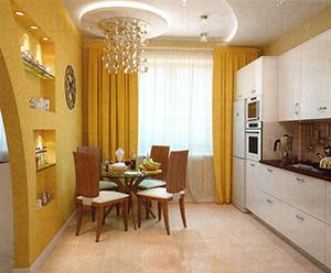 интерьер кухни в песочном цвете
