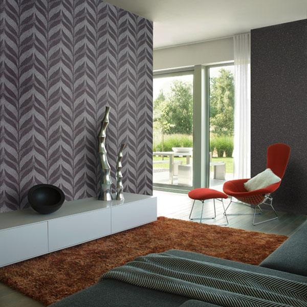 Modern-eco-friendly-wallpaper-grey-leaf-print