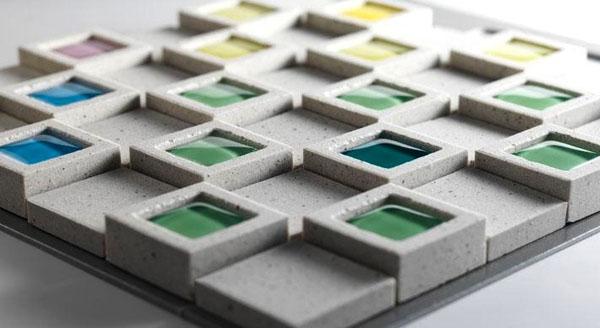 mulitcolored-raised-geometric-backsplash-tiles