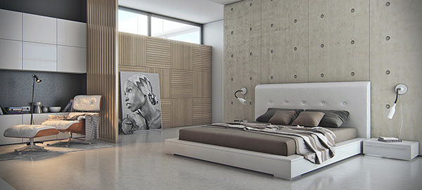 Concrete-bedroom-featre-wall
