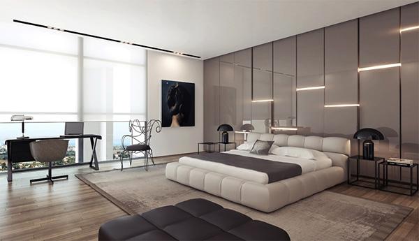 Gray-gloss-headboard-wall