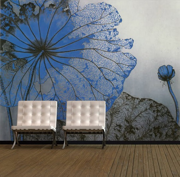 Living-Room-Interior-Designs-with-Flowers-Painting-Murals-Ideas