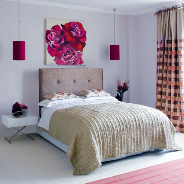 Valentine-Bedroom-Design-with-Ornamental-Flowers-and-Flower-Wallpaper