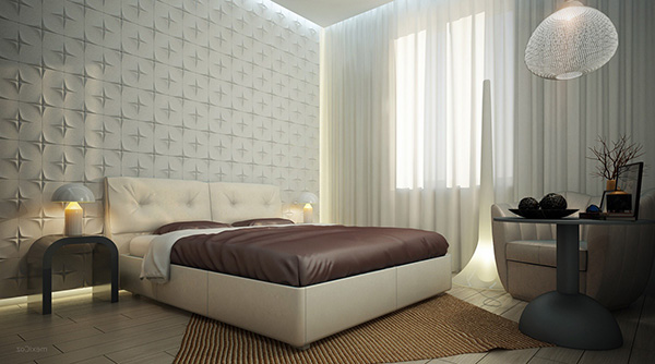 White-bedroom-textured-feature-wall